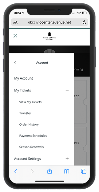 The open my tickets menu on a smartphone