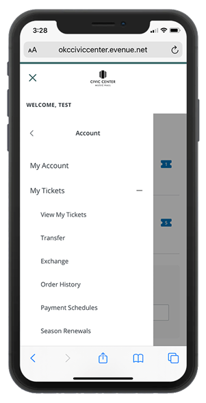 Civic Center account login screen on a mobile device